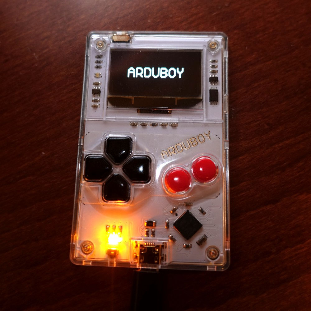 Arduboy connected via USB with logo