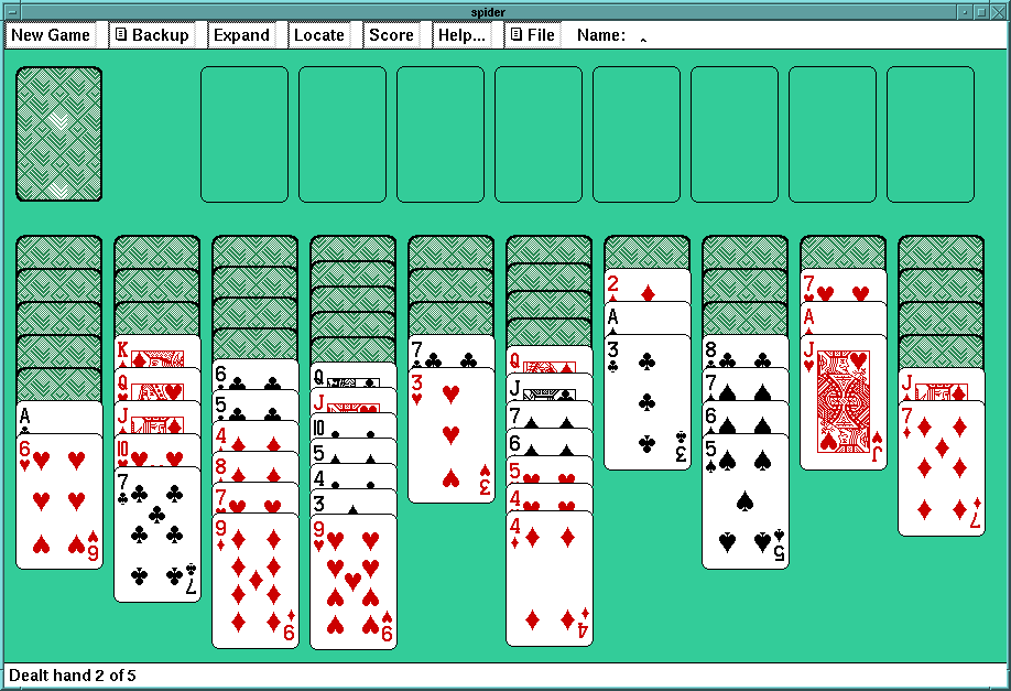 A game of Spider Solitaire in progress