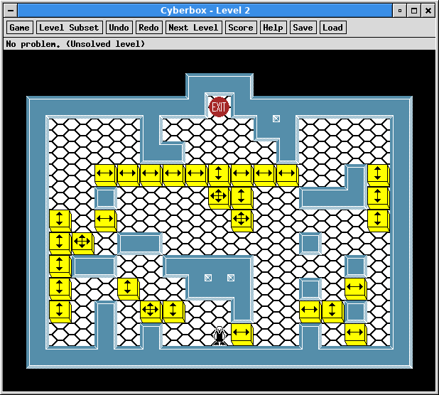 A screenshot of XSok running level 1 of the Cyberbox levels