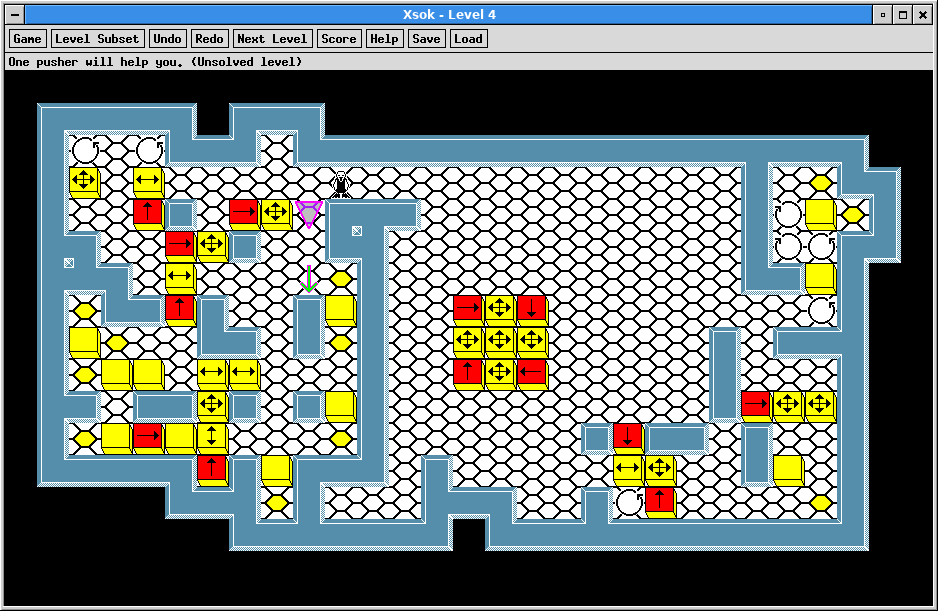 A screenshot of XSok running level 4 of the XSok-specific levels